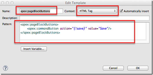 Defining template name and pattern for visualforce