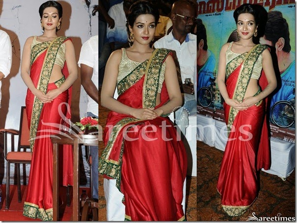 Catherine_Therisa_Red_Plain_Saree
