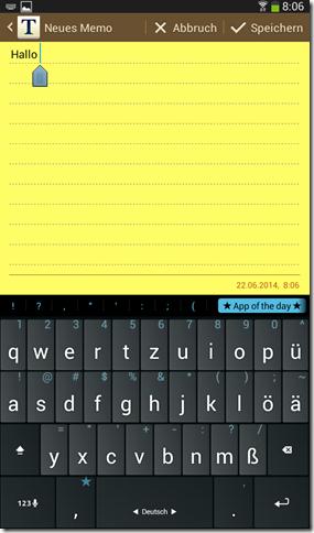 Multiling Tastatur auf Samsung GALAXY Tab 3