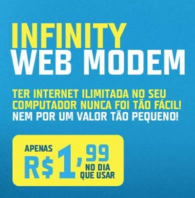 Conheça o Plano TIM Infinity  Web Modem apenas 1,99 no dia que você usar