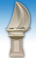 Sailboat Sculpture with Pedestal, Overall L36in x W22in x H79in.