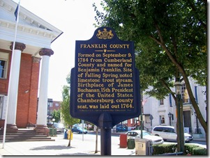Franklin County marker in front of the courthouse in Chambersburg, PA