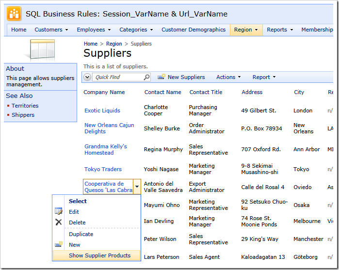 The active context menu with a custom SQL action 'Show Supplier Products'
