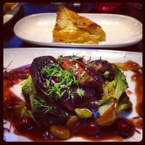 #130 - Brown's roast duck with broad beans and cherry sauce