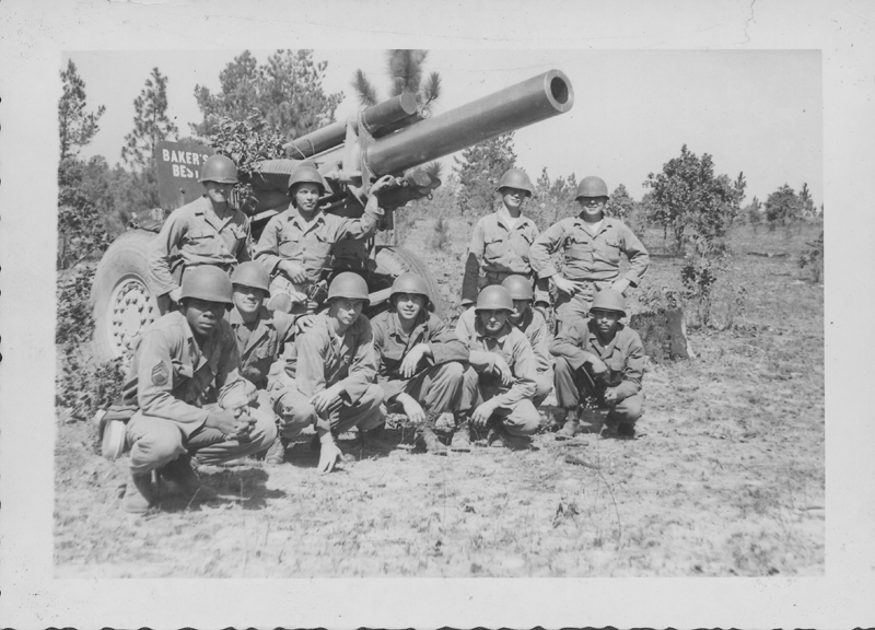 Edgar Sandifer (squatting, third from right) with his battery (B Btry 560 FA BN) at Camp Polk, Louisianna. 1951.