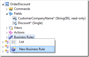 New Business Rule context menu option for OrderDiscount confirmation controller.
