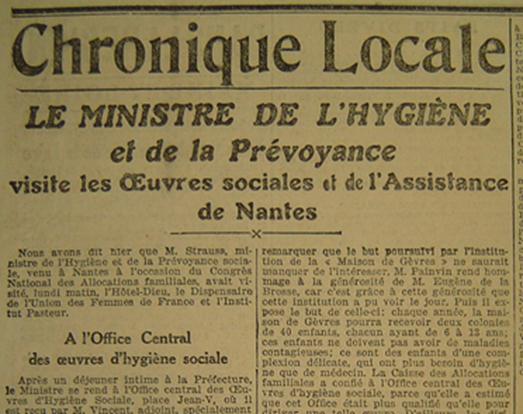 Titre de l'article paru dans « Le Phare de la Loire » du 5 juin 1923