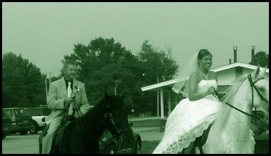happy bride on horse
