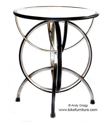Andy Gregg makes a whimsical line of furniture from reclaimed bike parts. (Cafe Table, bikefurniture.com)