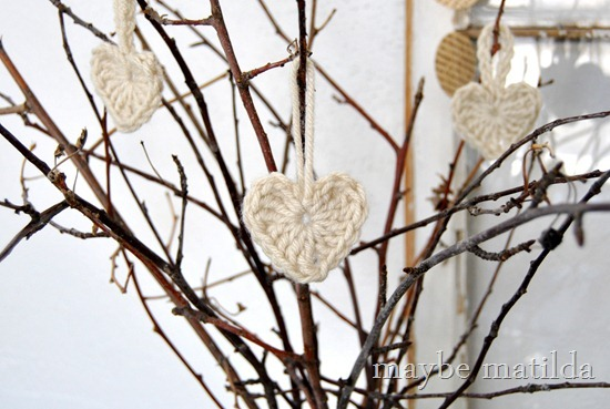 Crocheted heart ornaments on Valentine's 'tree'