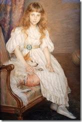 1891 madamoiselle adeline poznanska with dog - louise breslau