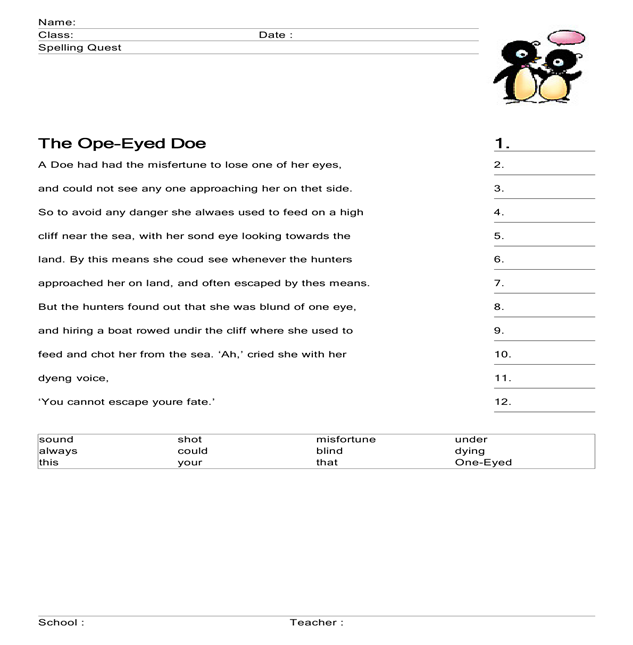 The One-Eyed Doe : Spelling Worksheet