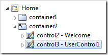 UserControl1 control added to the bottom of container1.