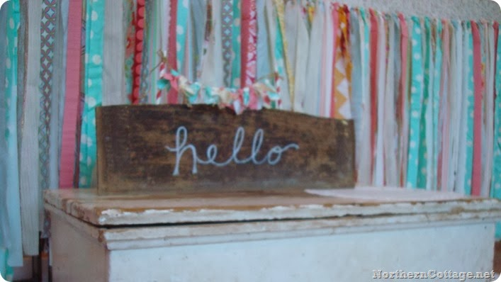 Happy Garlands with a handmade Rustic Hello Sign{NorthernCottage}