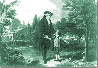 the-classic-scene-of-george-washington-and-his-father-augustine-washington-after-he-boy-barked-an-english-cherry-tree