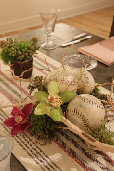 Hello Darling - Organic   Vintage Sports Bar Mitzvah, baseball and orchids
