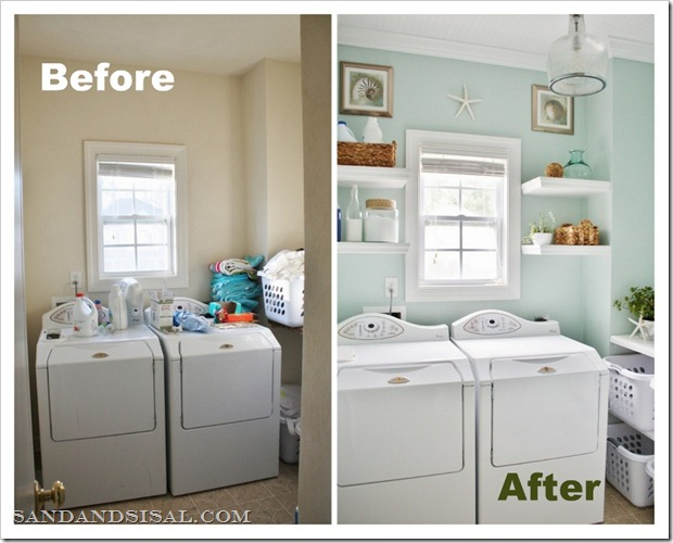 Laundry room makeover sand and sisal for Room makeover