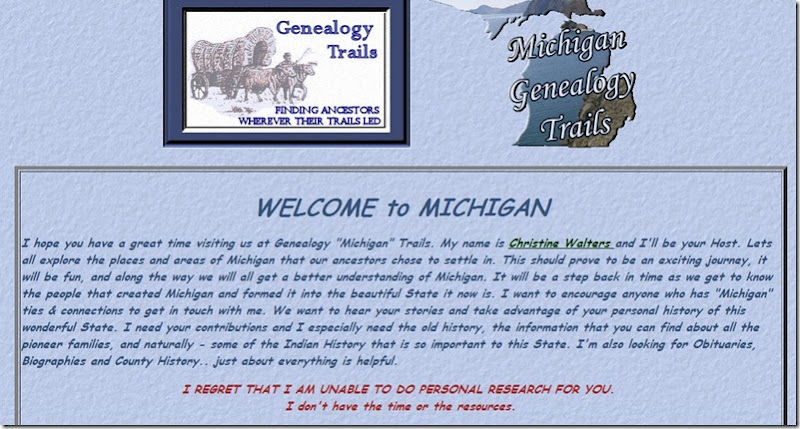 Michigan screenshot for gene trails site