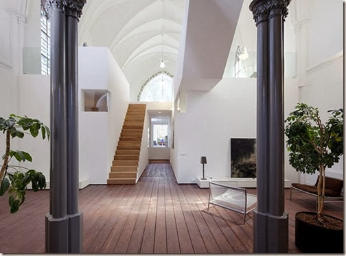 Gothic-Church-Turned-into-White-Contemporary-Home-in-2009-Staircase-800x590