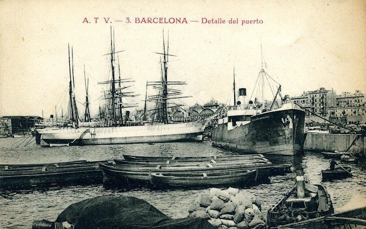 El vapor FLORENCIO RODRIGUEZ en Barcelona. Postal.JPG
