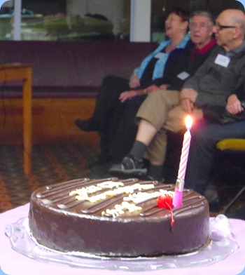 Our 35th Birthday Cake playing happy birthday to us all! Photo courtesy of Peter Littlejohn