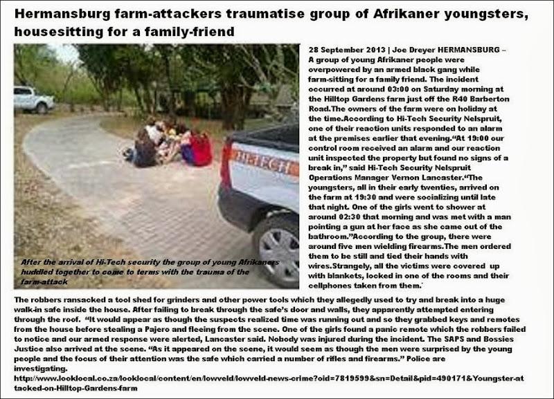 HermansburgFarmAttackYoungAfrikanersHousesittingTraumatisedByAggressiveGangSept282013