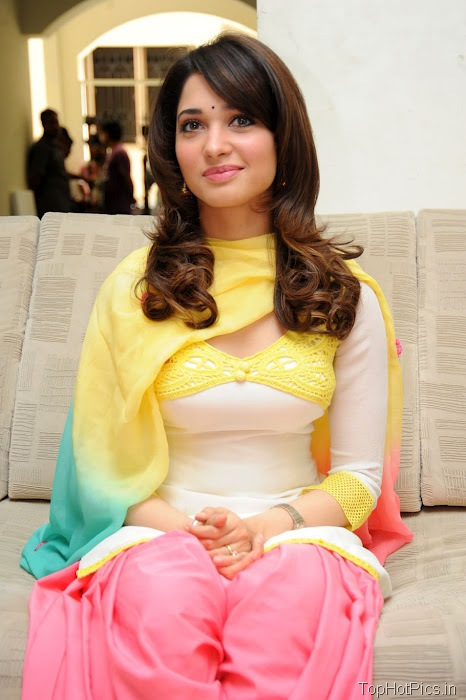 Tamanna Hot in Yellow Indian Dress photos 5