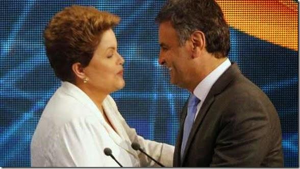 Dilma cumprimenta Aécio