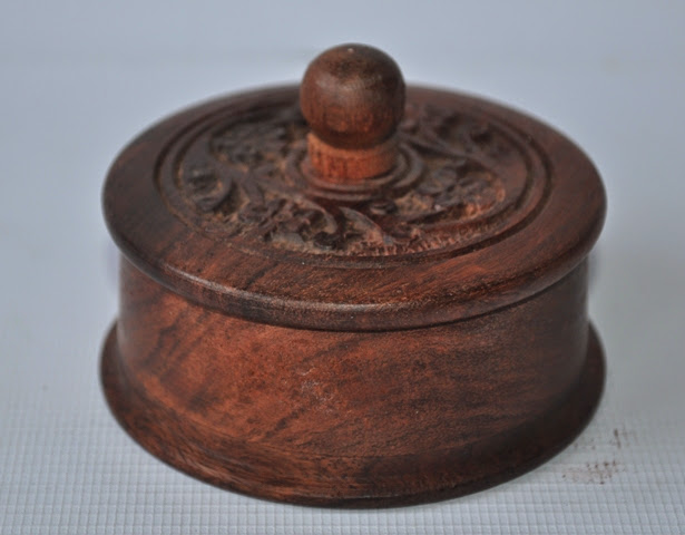 Wooden small carved Jewellery box