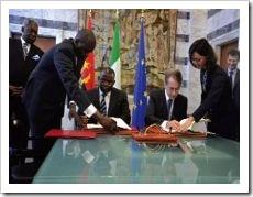 Ministro Georges Chicoti e o seu homólogo italiano assinaram os acordos em Roma