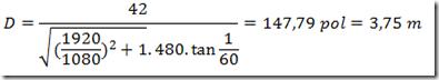 Equação para distância ideal da televisão - 42 polegadas em DVD