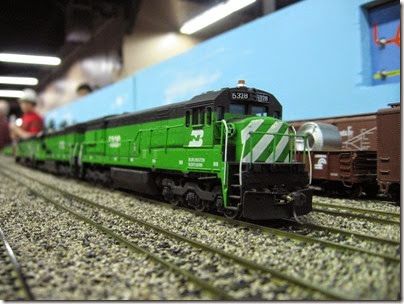 IMG_5458 Burlington Northern U30C #5328 on the LK&R HO-Scale Layout at the WGH Show in Portland, OR on February 17, 2007