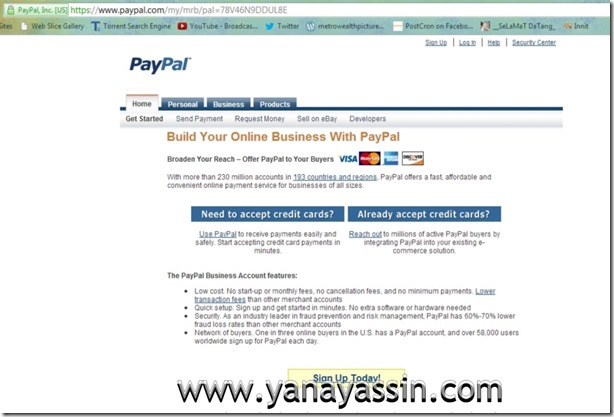 Cara daftar Paypal  100