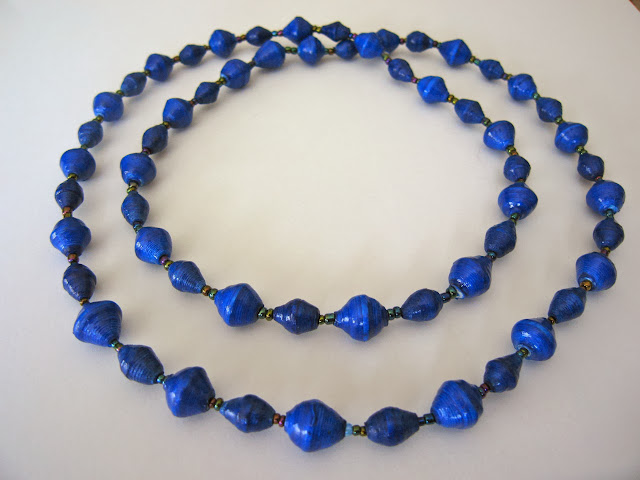 Long Paper Bead Necklace.Uganda Fair Trade