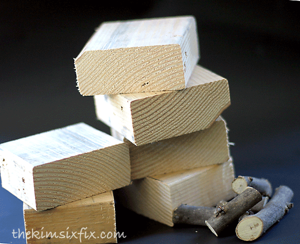 Craft with sticks and wooden blocks
