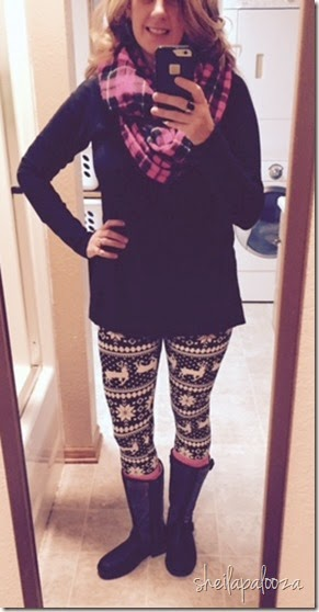 printed leggings and scarf