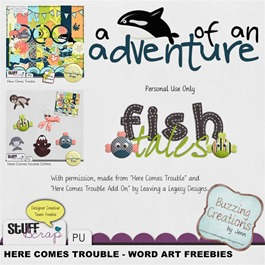 Leaving a Legacy Designs - Here Comes Trouble - Wordart Freebies Preview