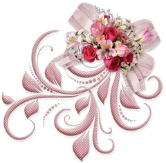 Pink Bow with Roses clipart