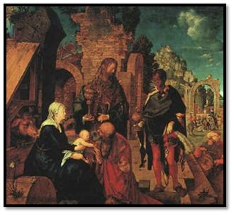 Adoración de los Reyes Magos, Durero
