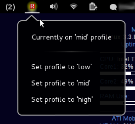 Radeon Power Profile Manager in Gnome Shell