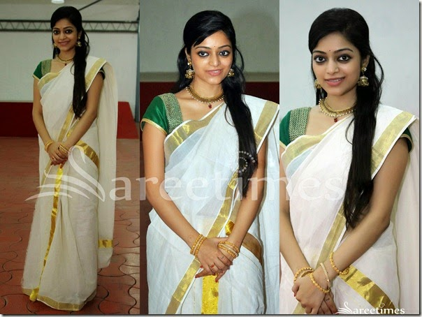 Janani_Iyer_White_Kerala_Traditional_Saree