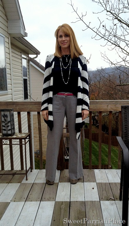 grey pants and striped sweater