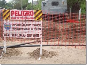 Informe de avance de la red de agua y cloacas en el distrito