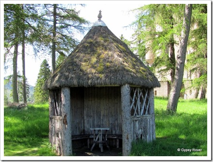 Summer house in the grounds of Braemar castle. Thatched with Heather.