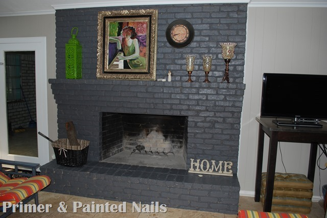Fireplace After 2 - Primer & Painted Nails