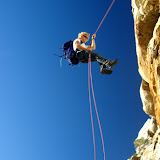 Cuan rappels off Table Mountain near Cape Town, South Africa.