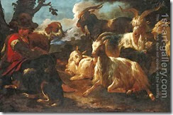 A-Young-Goatherd-With-Two-Dogs-And-Six-Goats-In-An-Italianate-Landscape