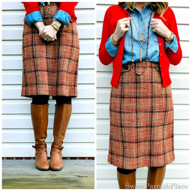plaid tweed skirt, denim shirt, red cardigan and tall boots8
