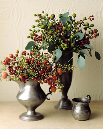 Rose Hip Arrangement: After the flowers have faded, jewel-hued rose hips -- the fruit of a rose plant -- carry the beauty of the garden into fall.