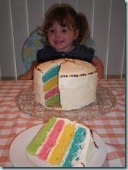With rainbow cake
